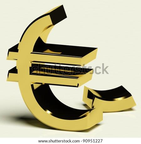 Broken Euro Representing Inflation, Recession, Or Economic Failure - stock photo