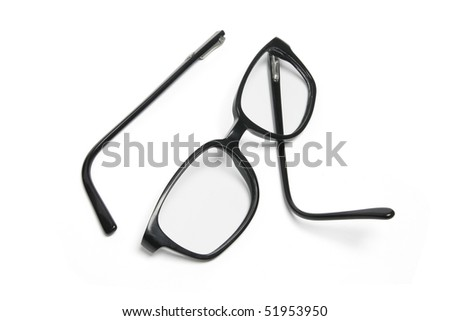 Broken Eyeglasses on White Background - stock photo