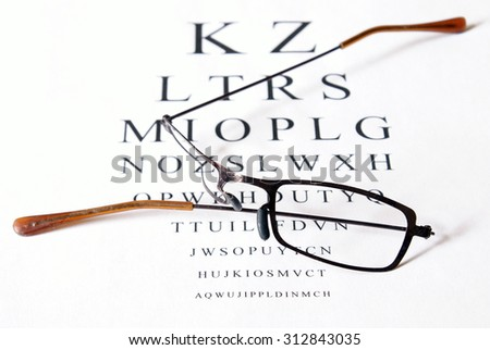 Broken eyeglasses sitting on top of eye test exam papper. - stock photo