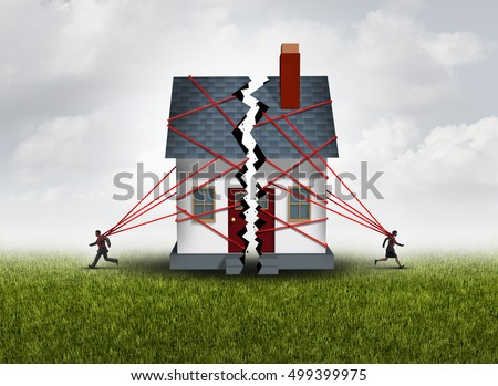 Broken family after a bitter divorce settlement and separation with a couple in a bad relationship breaking a house apart showing the concept of a marriage dispute with 3D illustration elements.