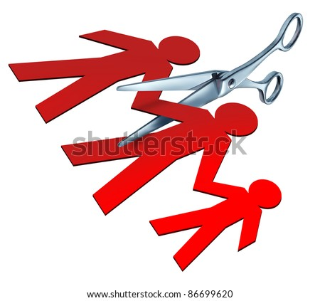 Broken family and child custody after a bitter divorce and separation with a pair of metal scissors cutting apart a family of red paper cut outs showing the concept of division and alienation. - stock photo