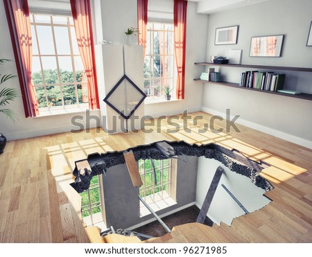 broken  floor of a residential apartment (illustrated concept) - stock photo