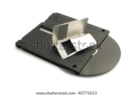broken floppy disk - stock photo
