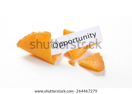 Broken fortune cookies with opportunity on the fortune - stock photo