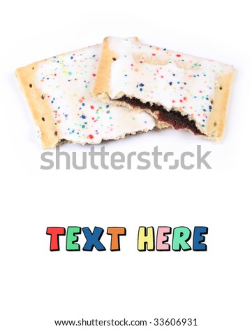 Broken Frosted Toaster Fruit Pastry with Text Space Below - stock photo