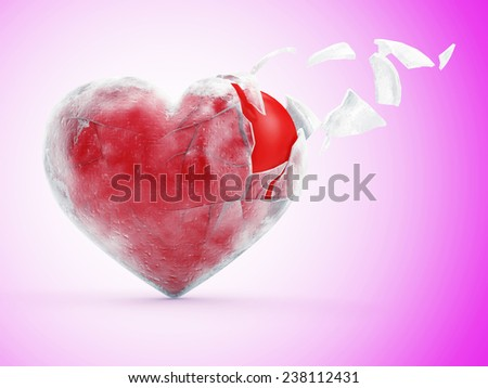 Broken Frozen Red Heart on Pink gradient background. St Valentine's Day and Love Concept - stock photo