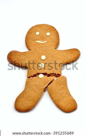 Broken Gingerbread Man - stock photo
