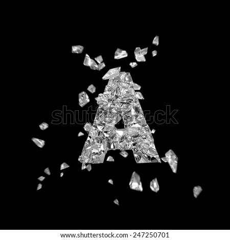 broken glass alphabet A - stock photo