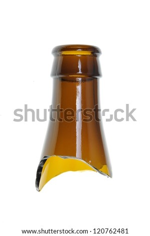 Broken glass, brown bottle neck isolated on white background - stock photo