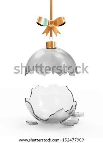 Broken Glass Christmas Ball with Golden Bow isolated on white background