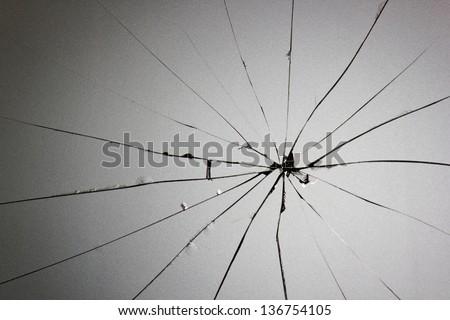 broken glass cracks - stock photo