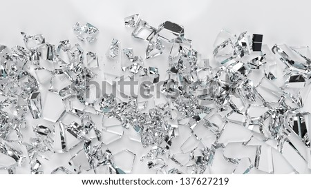 Broken glass crystals closeup view, high resolution 3d render