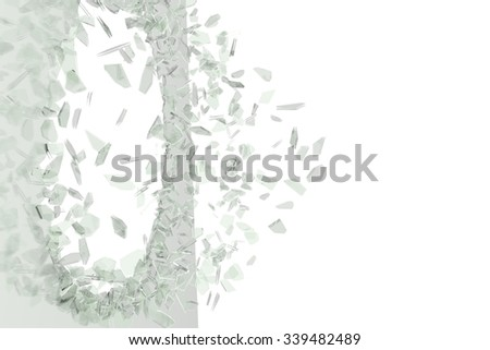 Broken glass from the blow, shot on a white isolated background with space for Your text or image - stock photo
