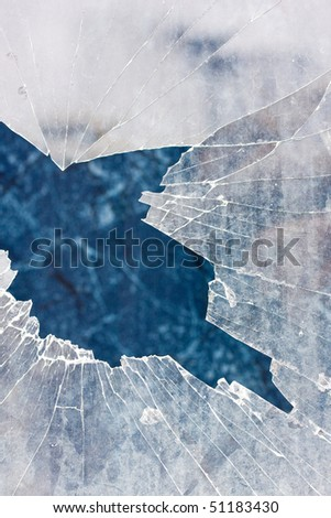 Broken glass in an abandoned house, abstract background - stock photo