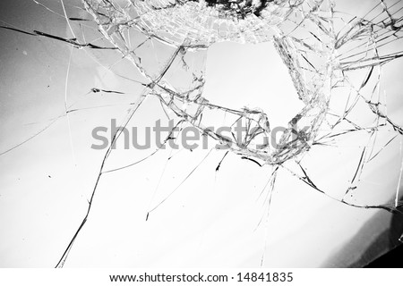 Broken glass in clear black and white tone. - stock photo