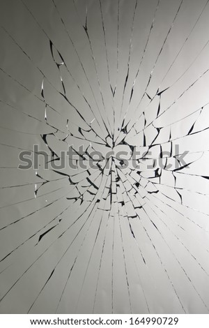 broken glass in grey background