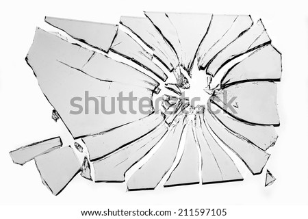 broken glass isolated on white background - stock photo