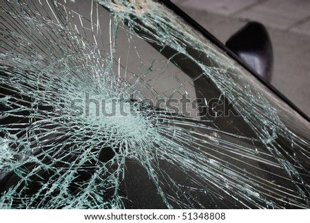 broken glass on a car