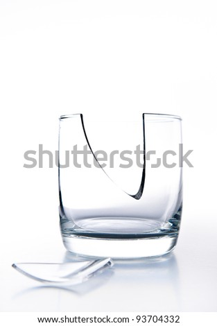 Broken glass on a white background