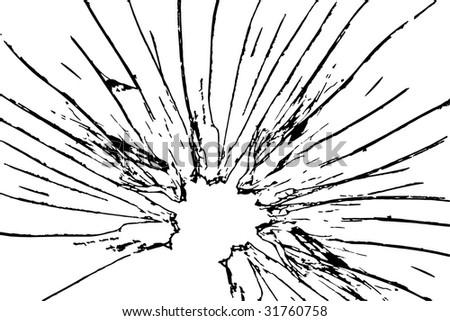 broken glass on white background - stock photo