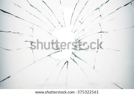 Broken glass on white background
