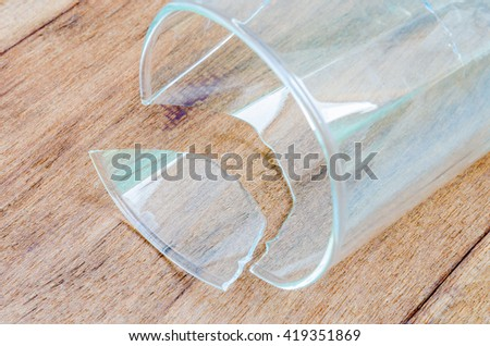broken glass on wood background