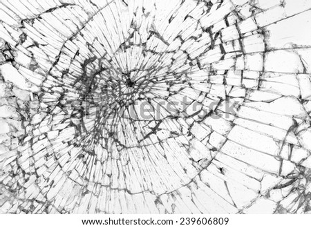 Broken glass, white background, concept of violence - stock photo