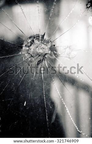 Broken Glass Window  - stock photo