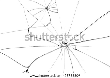 Broken glass with black cracks on white background - stock photo
