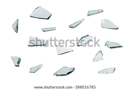 broken glass with sharp Pieces isolated on white background - stock photo