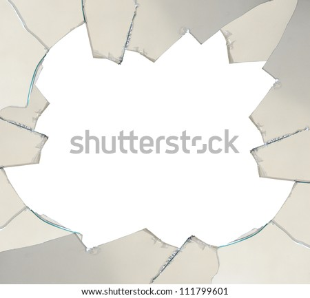 Broken glass with space for text - isolated on white - stock photo