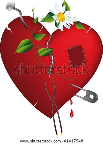broken heart and love - stock photo