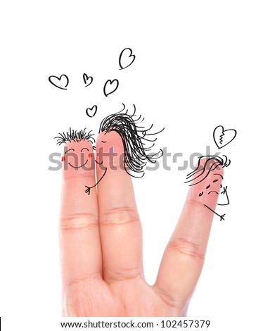 Broken  heart concept painted on human fingers ( one women kiss man and one women crying ) - stock photo