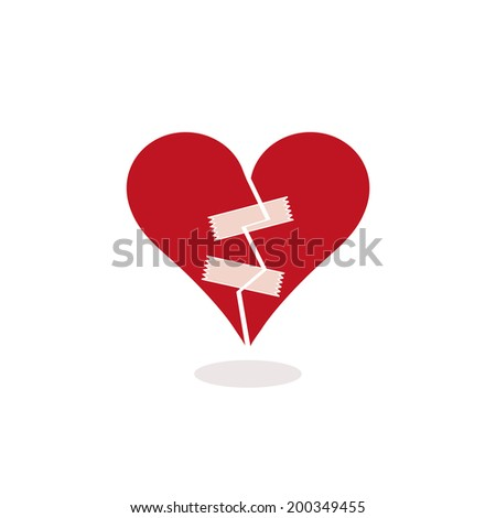 Broken Heart Fixed with Pieces of Adhesive Tape. Concept, Illustration. Metaphorically trying to mend a red and broken heart with some adhesive tape. The stylized heart is cracked in half. Flat colors - stock photo