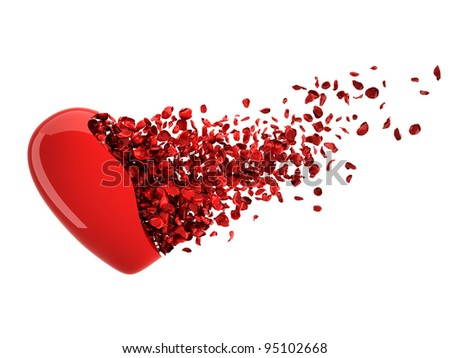 Broken Heart. High quality 3D render of glossy heart transforming into Rose Petals. - stock photo