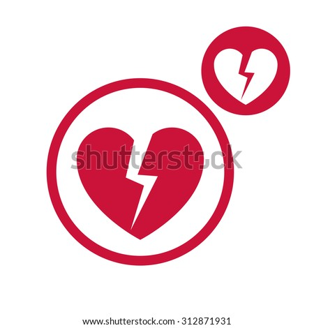 Broken heart icon isolated on white background, includes invert version for you to choose.