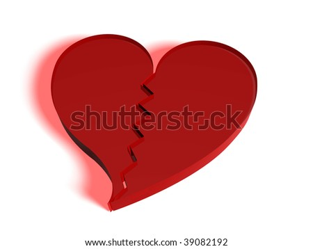 broken heart in red made in glass. Concept of rupture of relations - stock photo