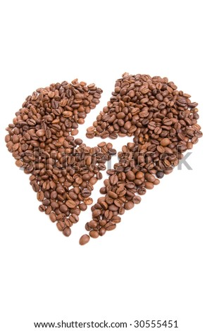 Broken heart made of coffee beans, isolated over white