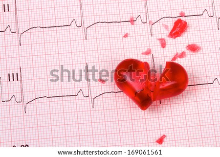 Broken heart of glass on a ECG cardiogram - stock photo