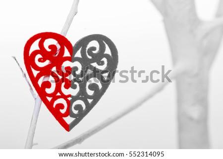 Broken Heart On White Tree On Stock Photo Royalty Free 552314095