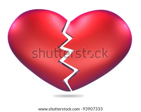 Broken heart shape - stock photo
