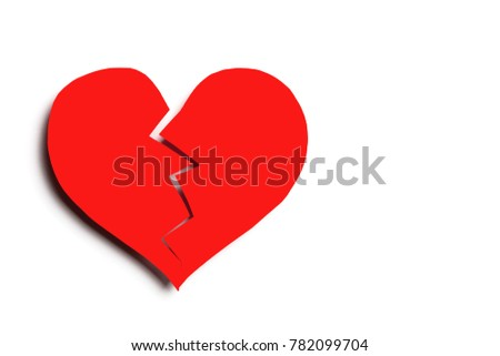 Broken Heart Symbol On White Isolated Stock Photo Safe To Use