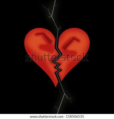 Broken heart. Two broken peaces of heart arguing - stock photo