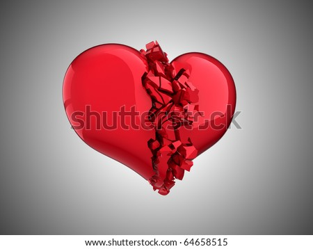 Broken Heart - unrequited love, disease, death or pain - stock photo