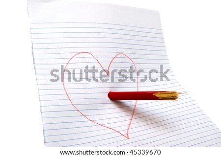 Broken heart with a broken pencil on paper. White background - stock photo