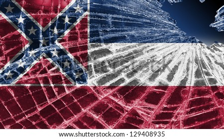 Broken ice or glass with a flag pattern, isolated, Mississippi - stock photo