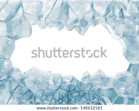 Broken Ice Wall isolated on white background. (Animation for this image see in my footage gallery) - stock photo