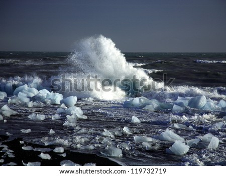 Broken icebergs on the beach in Iceland - stock photo