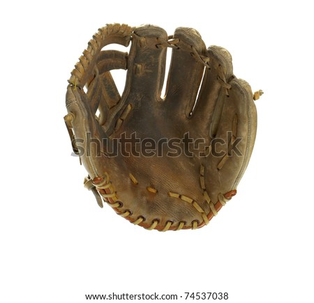 Broken in leather baseball glove isolated on white