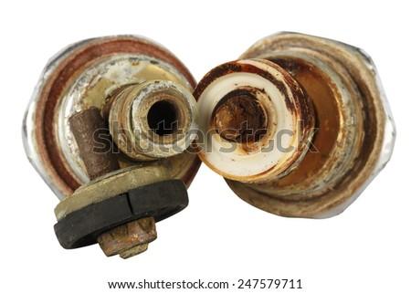 Broken insert of tap valve shown up close - stock photo